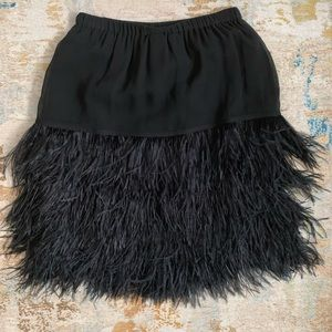 Marc-Cain Black Silk Skirt with Ostrich Feathers